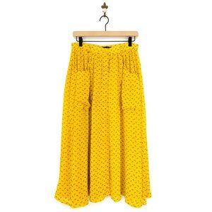 American Apparel Yellow Lilly Button Up Midi Skirt